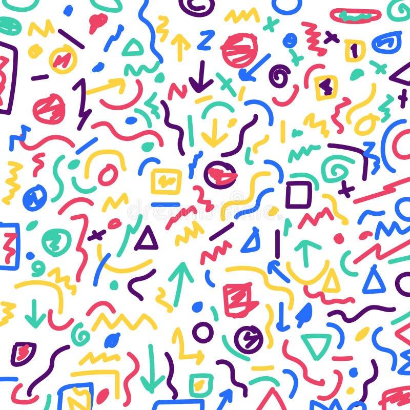 Συρμένες χέρι ζωηρόχρωμες γεωμετρικές σχέδιο συνόρων και δέσμη γραμμών επάνω απεικόνιση αποθεμάτων