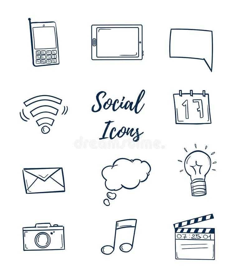Συρμένες χέρι διανυσματικές απεικονίσεις Σύνολο κοινωνικών εικονιδίων Doodle des διανυσματική απεικόνιση