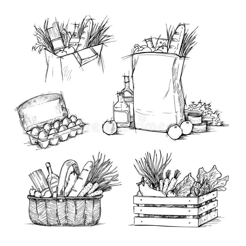 Συρμένες χέρι διανυσματικές απεικονίσεις - τσάντες αγορών με τα υγιή τρόφιμα στοκ εικόνα