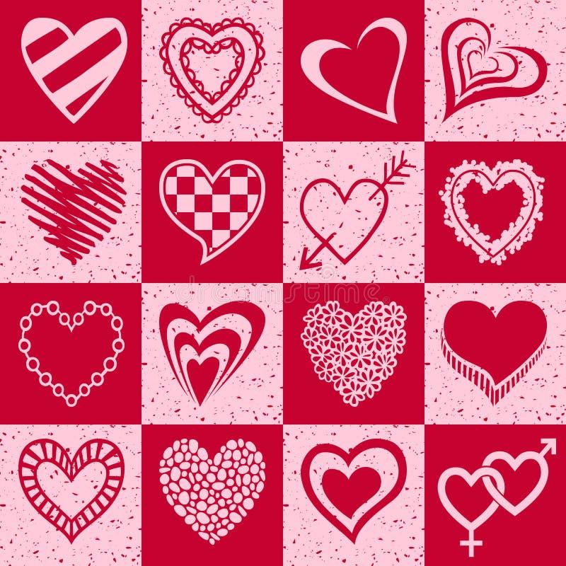 Συρμένες χέρι καρδιές που τίθενται διανυσματική απεικόνιση