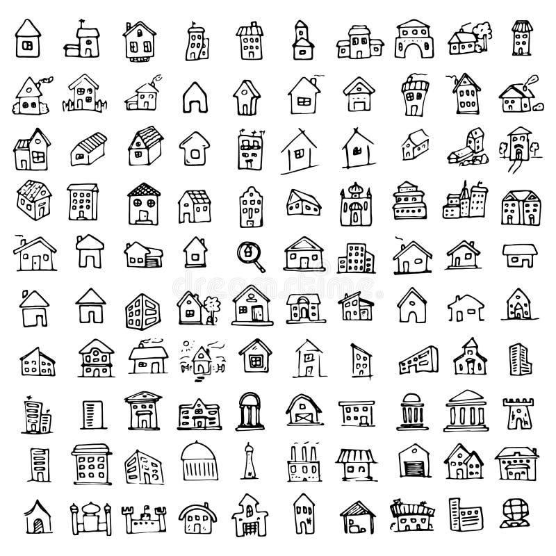 Συρμένες χέρι κτήριο και ακίνητη περιουσία στα τολμηρά και λεπτά εικονίδια γραμμών απεικόνιση αποθεμάτων