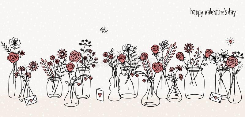 Συρμένες χέρι κόκκινες ανθοδέσμες λουλουδιών διανυσματική απεικόνιση