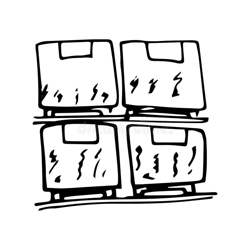 Συρμένες χέρι παλέτες με το φορτίο doodle Εικονίδιο ύφους σκίτσων Στοιχείο διακοσμήσεων o : r ελεύθερη απεικόνιση δικαιώματος