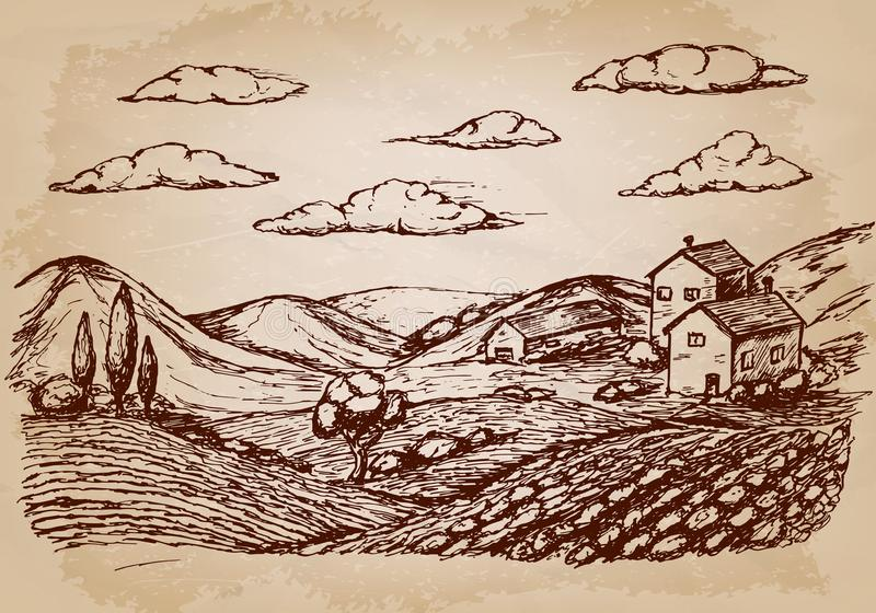 Συρμένες χέρι σκίτσο και φύση του χωριού σπιτιών επίσης corel σύρετε το διάνυσμα απεικόνισης ελεύθερη απεικόνιση δικαιώματος