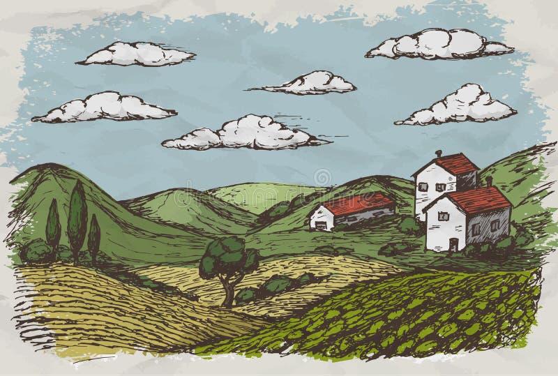 Συρμένες χέρι σκίτσο και φύση του χωριού σπιτιών επίσης corel σύρετε το διάνυσμα απεικόνισης απεικόνιση αποθεμάτων