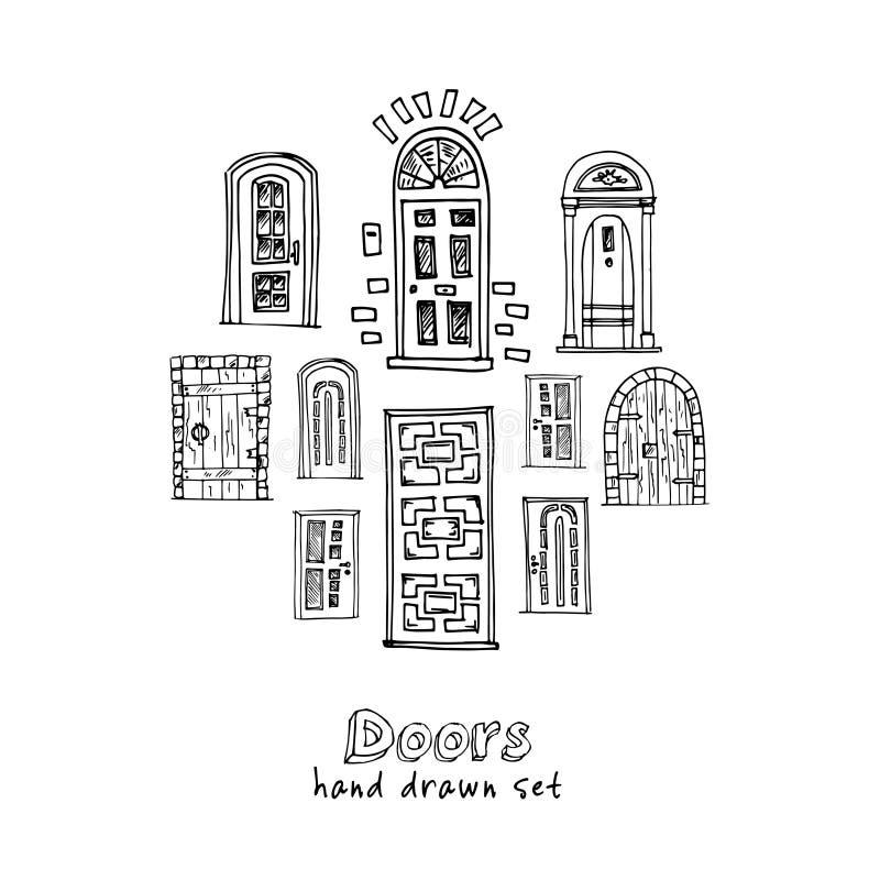 Συρμένες χέρι doodle πόρτες καθορισμένες διανυσματική απεικόνιση