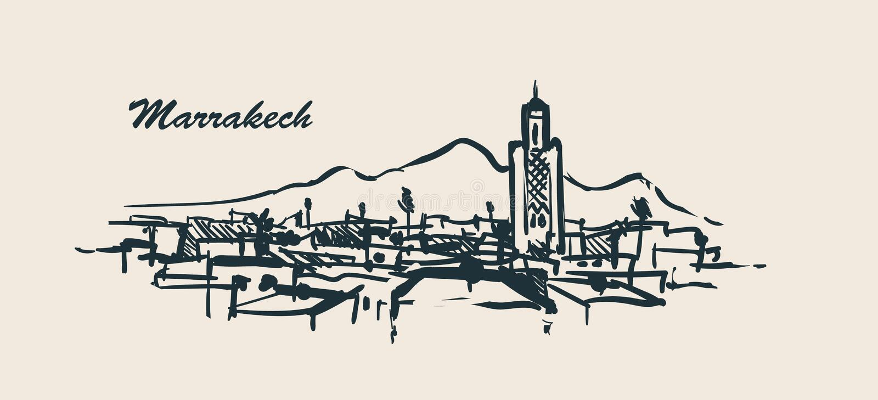 Συρμένη απεικόνιση σκίτσων οριζόντων του Μαρακές χέρι διανυσματική απεικόνιση