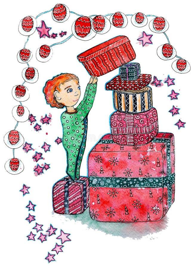 Συρμένη απεικόνιση Χριστουγέννων Watercolor χέρι ενός παιδιού με ένα κιβώτιο πολλών δώρων στο άσπρο υπόβαθρο ελεύθερη απεικόνιση δικαιώματος