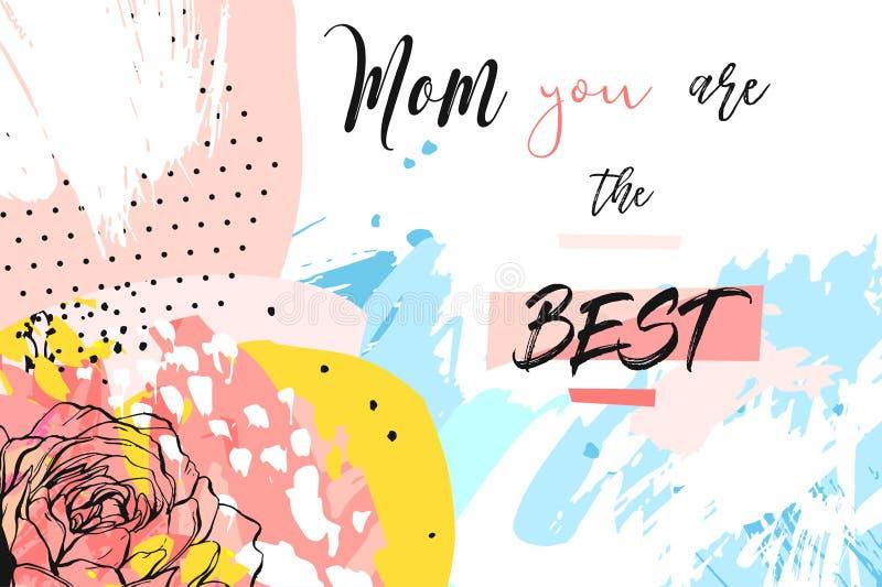 Συρμένη η χέρι διανυσματική αφηρημένη δημιουργική επιγραφή χαιρετισμού ημέρας μητέρων ` s με την άνοιξη ανθίζει το κολάζ, καλλιτε διανυσματική απεικόνιση
