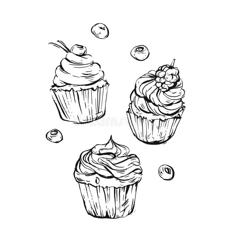 Συρμένη η χέρι διανυσματική γραφική γλυκιά συλλογή στοιχείων σχεδίου τροφίμων έθεσε με το χέρι - γίνοντα σύγχρονα γραφικά cupcake απεικόνιση αποθεμάτων