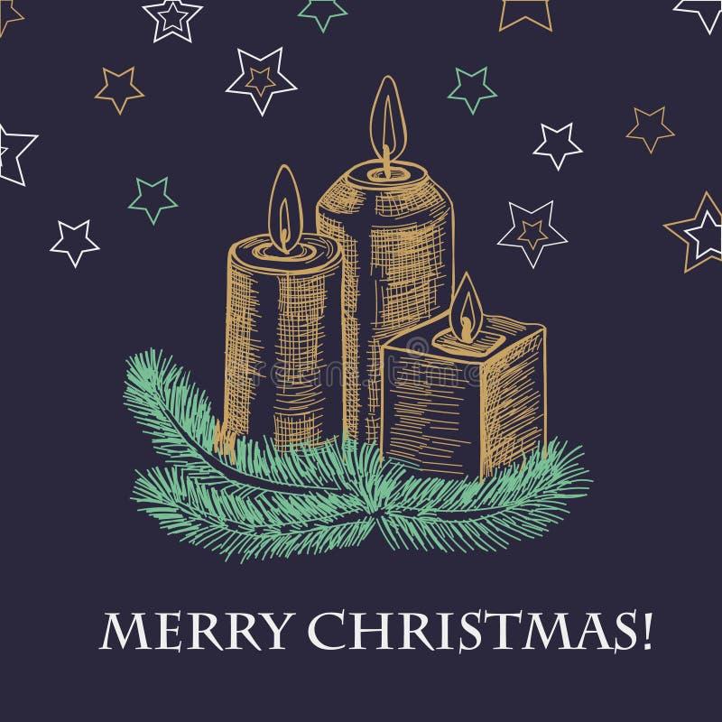 Συρμένη η χέρι κάρτα έτους σκίτσων νέα με το κάψιμο του κεριού στο κηροπήγιο Χριστουγέννων του έλατου διακλαδίζεται ζωηρόχρωμοι λ απεικόνιση αποθεμάτων