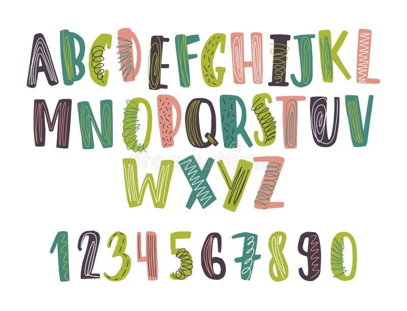 Συρμένη η χέρι λατινική πηγή ή το παιδαριώδες αγγλικό αλφάβητο διακόσμησε με το επίχρισμα ή την κακογραφία Φωτεινές χρωματισμένες ελεύθερη απεικόνιση δικαιώματος
