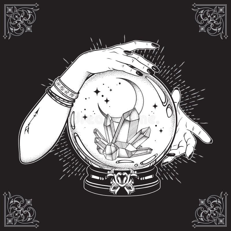 Συρμένη η χέρι μαγική σφαίρα κρυστάλλου με τους πολύτιμους λίθους και το ημισεληνοειδές φεγγάρι στα χέρια της τέχνης και του σημε ελεύθερη απεικόνιση δικαιώματος