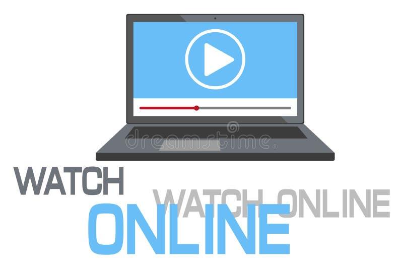 Συρμένη η χέρι σε απευθείας σύνδεση έννοια ρολογιών, προσέχει το σε απευθείας σύνδεση λογότυπο, σε απευθείας σύνδεση εικονίδιο TV απεικόνιση αποθεμάτων