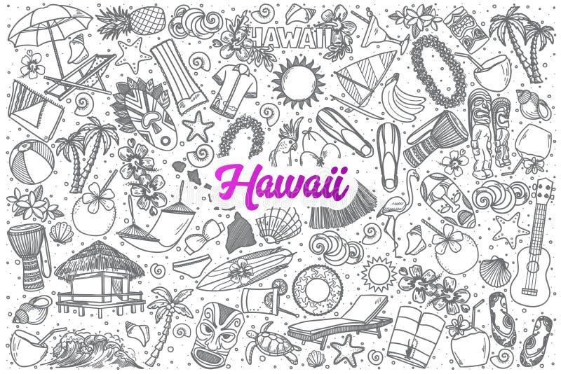Συρμένη η χέρι Χαβάη doodle έθεσε με την εγγραφή ελεύθερη απεικόνιση δικαιώματος
