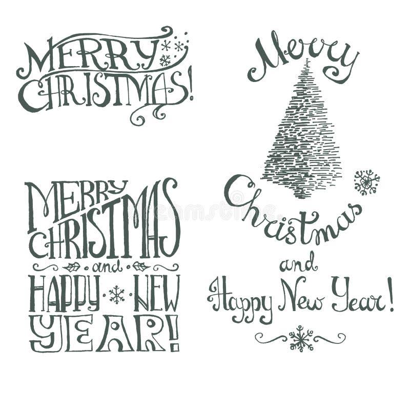Συρμένη διανυσματική χέρι αναδρομική εγγραφή Χριστουγέννων διανυσματική απεικόνιση