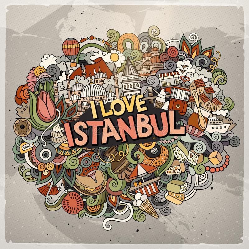 Συρμένη Ι κινούμενων σχεδίων χαριτωμένη επιγραφή της Ιστανμπούλ αγάπης doodles χέρι ελεύθερη απεικόνιση δικαιώματος