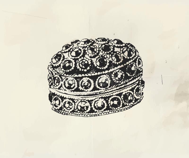 Συρμένη μελάνι κασετίνα κοσμήματος που διακοσμείται με τους μικρούς πολύτιμους λίθους ελεύθερη απεικόνιση δικαιώματος