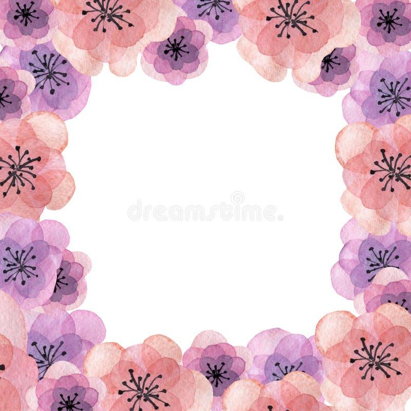 Συρμένη πρόσκληση πλαισίων Watercolor χέρι με τα λουλούδια ελεύθερη απεικόνιση δικαιώματος