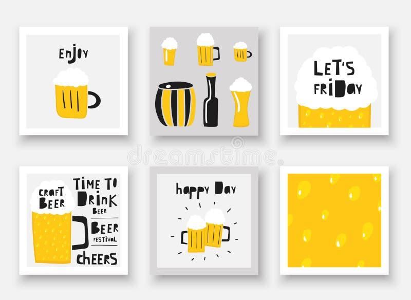 Συρμένη συλλογή μπύρας Doodle χέρι Ποτό οινοπνεύματος στην κούπα, βαρέλι, μπουκάλι απεικόνιση αποθεμάτων