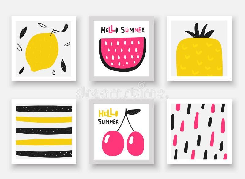 Συρμένη συλλογή φρούτων Doodle χέρι Θερινές κάρτες, ετικέττες, πλαίσια με το καρπούζι, κεράσι, ανανάς, λεμόνι διανυσματική απεικόνιση