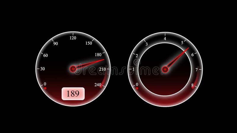 Συρμένη ταχύτητα, βιασύνη αδρεναλίνης Μαύρο υπόβαθρο διανυσματική απεικόνιση