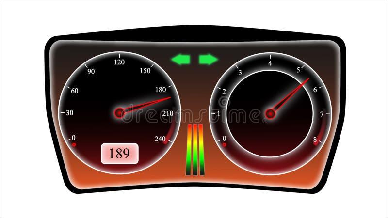 Συρμένη ταχύτητα Ταμπλό αυτοκινήτων ελεύθερη απεικόνιση δικαιώματος