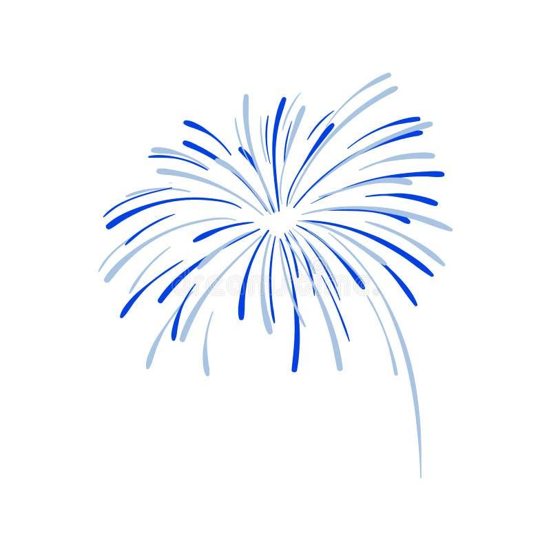 Συρμένη χέρι έκρηξη πυροτεχνημάτων, μπλε κροτίδα, διάνυσμα διανυσματική απεικόνιση