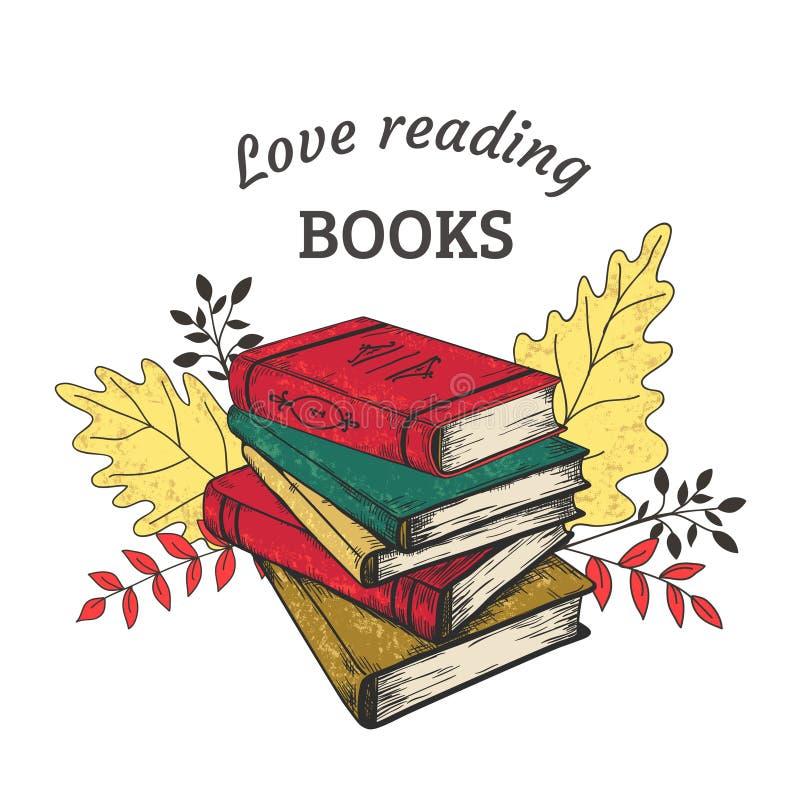 Συρμένη χέρι έννοια βιβλίων Εκλεκτής ποιότητας σωρός των βιβλίων με τις συστάσεις grunge και διανυσματικό εκπαιδευτικό κειμένων,  ελεύθερη απεικόνιση δικαιώματος