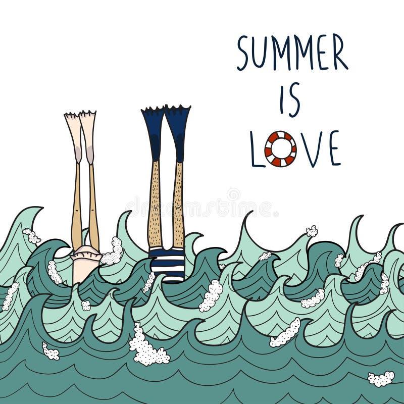 Συρμένη χέρι αγάπη στη θάλασσα στοκ φωτογραφία με δικαίωμα ελεύθερης χρήσης