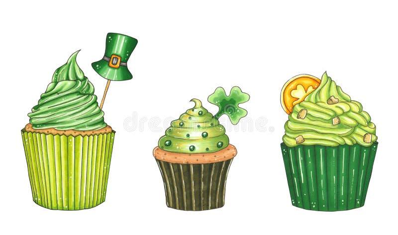 Συρμένη χέρι απεικόνιση ένα σύνολο πράσινα muffins διανυσματική απεικόνιση