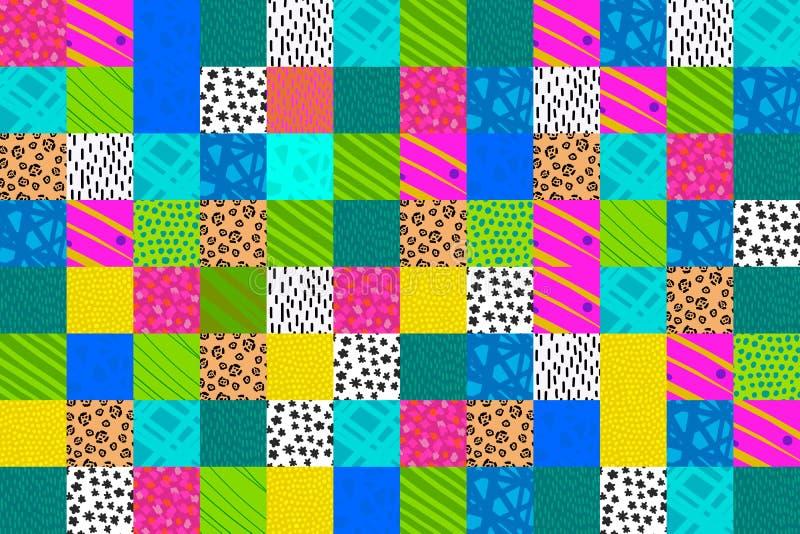 Συρμένη χέρι απεικόνιση κολάζ μπαλωμάτων στη δονούμενη μπλε ρόδινη κιτρινοπράσινη πορφύρα υποβάθρου χρωμάτων διανυσματική απεικόνιση