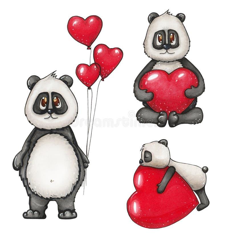 Συρμένη χέρι απεικόνιση με ένα καλό panda διανυσματική απεικόνιση