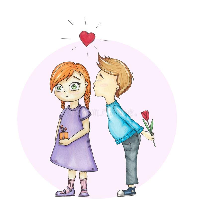 Συρμένη χέρι απεικόνιση με το κορίτσι και το αγόρι ελεύθερη απεικόνιση δικαιώματος