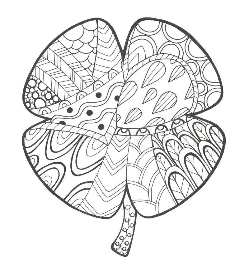 Συρμένη χέρι απεικόνιση με το τριφύλλι doodle και zen σύγχυσης ελεύθερη απεικόνιση δικαιώματος
