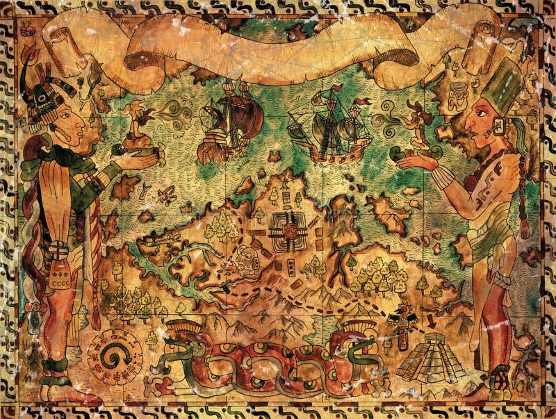 Συρμένη χέρι απεικόνιση με το χάρτη πειρατών και τις εκλεκτής ποιότητας περιπέτειες ελεύθερη απεικόνιση δικαιώματος