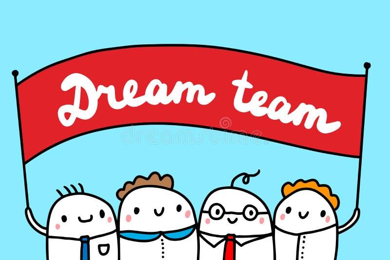Συρμένη χέρι απεικόνιση ομάδων ονείρου με τους χαριτωμένους επιχειρηματίες ανθρώπων κινούμενων σχεδίων ελεύθερη απεικόνιση δικαιώματος