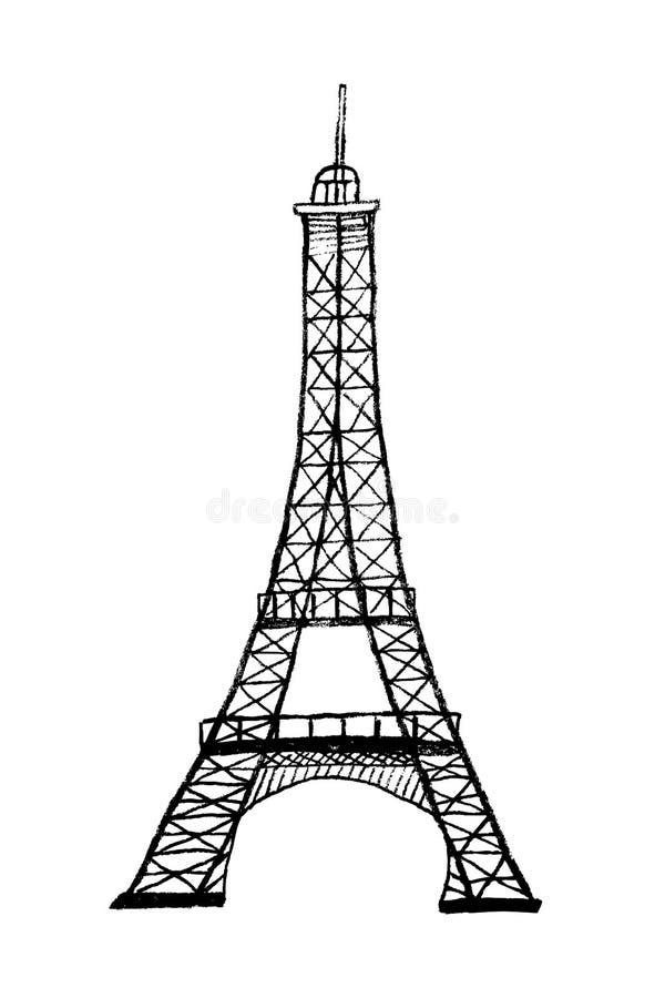 Συρμένη χέρι απεικόνιση πύργων του Άιφελ διανυσματική απεικόνιση