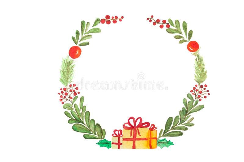 Συρμένη χέρι απεικόνιση ράστερ watercolor Στεφάνι Χριστουγέννων στο λευκό Τελειοποιήστε για τις προσκλήσεις, ευχετήριες κάρτες, α ελεύθερη απεικόνιση δικαιώματος