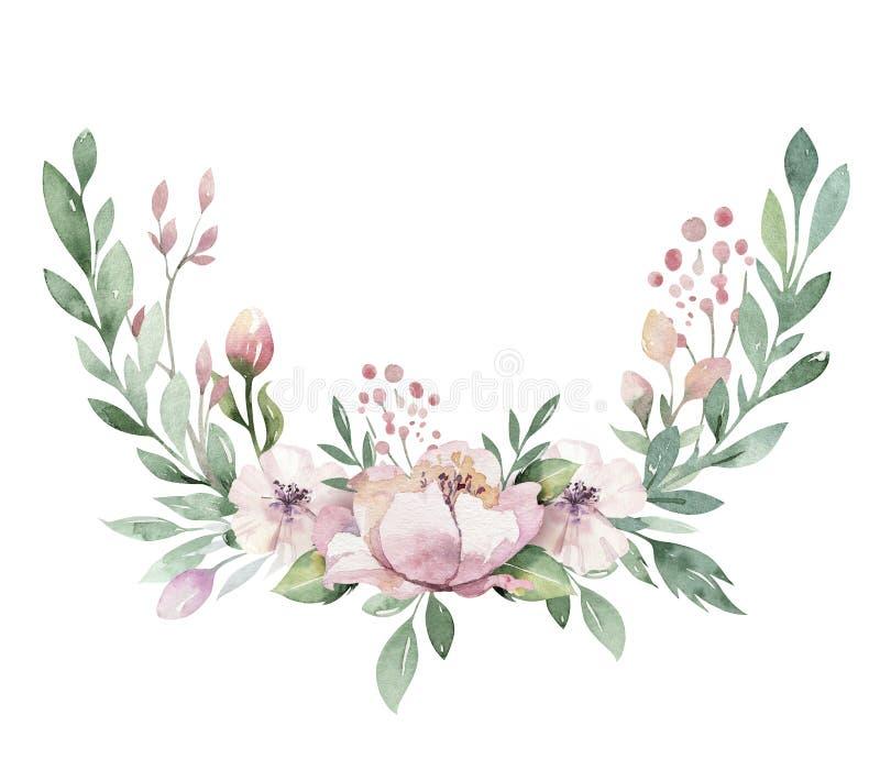 Συρμένη χέρι απεικόνιση στεφανιών watercolor Απομονωμένος βοτανικός περιβάλλει των πράσινων κλάδων και των φύλλων λουλουδιών Άνοι ελεύθερη απεικόνιση δικαιώματος