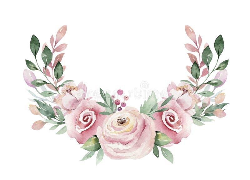 Συρμένη χέρι απεικόνιση στεφανιών watercolor Απομονωμένος βοτανικός περιβάλλει των πράσινων κλάδων και των φύλλων λουλουδιών Άνοι απεικόνιση αποθεμάτων
