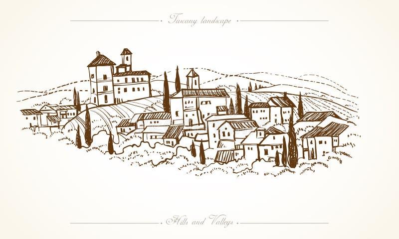 Συρμένη χέρι απεικόνιση τοπίων της Τοσκάνης διανυσματική απεικόνιση