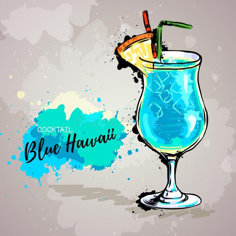 Συρμένη χέρι απεικόνιση του κοκτέιλ μπλε Χαβάη διανυσματική απεικόνιση