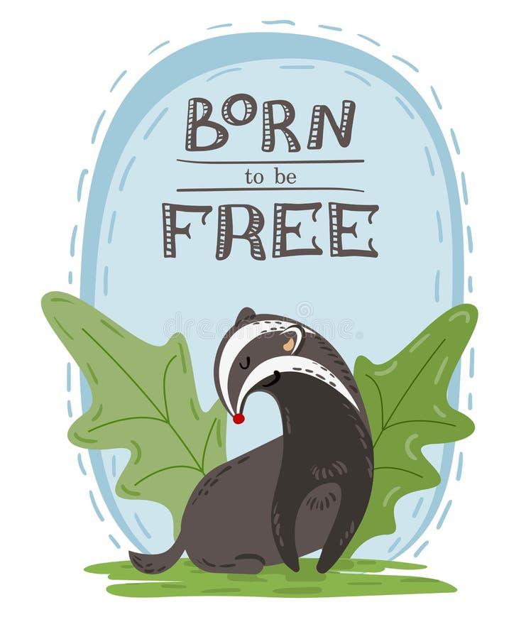 Συρμένη χέρι απεικόνιση του χαριτωμένου άγριου ασβού με την επιγραφή γεννημένη να είναι ελεύθερος Κάρτα, αφίσα, ή σχέδιο εμβλημάτ ελεύθερη απεικόνιση δικαιώματος