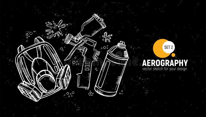 Συρμένη χέρι απεικόνιση των εργαλείων aerography Προστατευτική μάσκα, αναπνευστική συσκευή, airbrush και χρώμα ψεκασμού Σύνολο 2 απεικόνιση αποθεμάτων