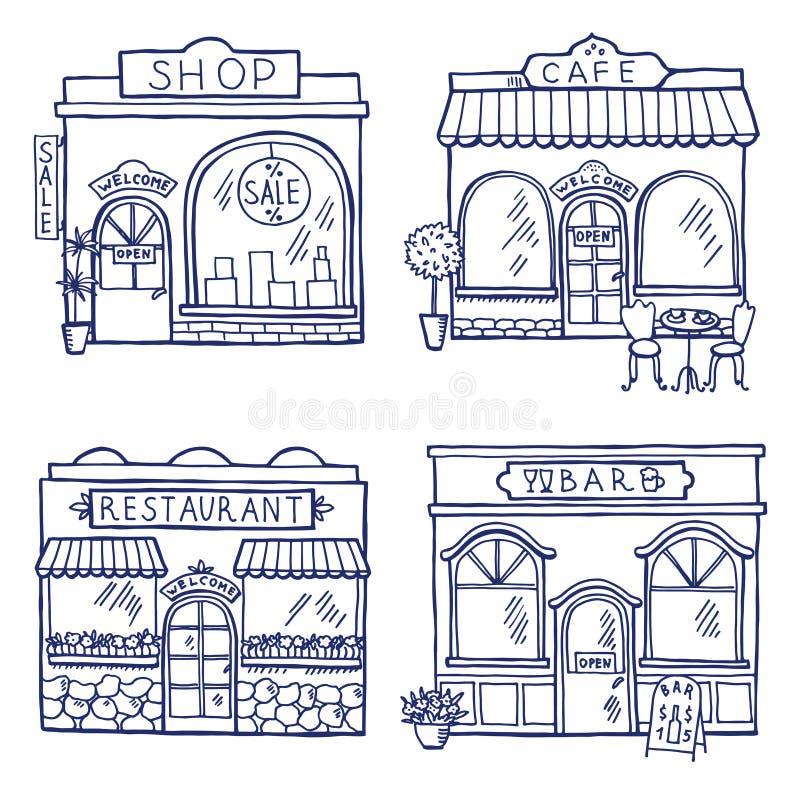 Συρμένη χέρι απεικόνιση των διαφορετικών κτηρίων και των αγορών Εστιατόριο, καφές, φραγμός και κατάστημα ελεύθερη απεικόνιση δικαιώματος
