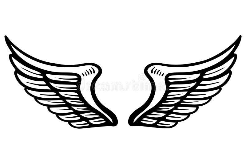 Συρμένη χέρι απεικόνιση φτερών αετών που απομονώνεται στο άσπρο υπόβαθρο Στοιχείο σχεδίου για την αφίσα, κάρτα, έμβλημα, σημάδι,  απεικόνιση αποθεμάτων