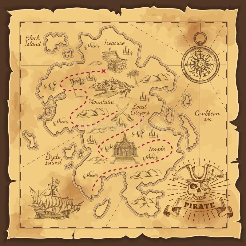 Συρμένη χέρι απεικόνιση χαρτών θησαυρών πειρατών ελεύθερη απεικόνιση δικαιώματος