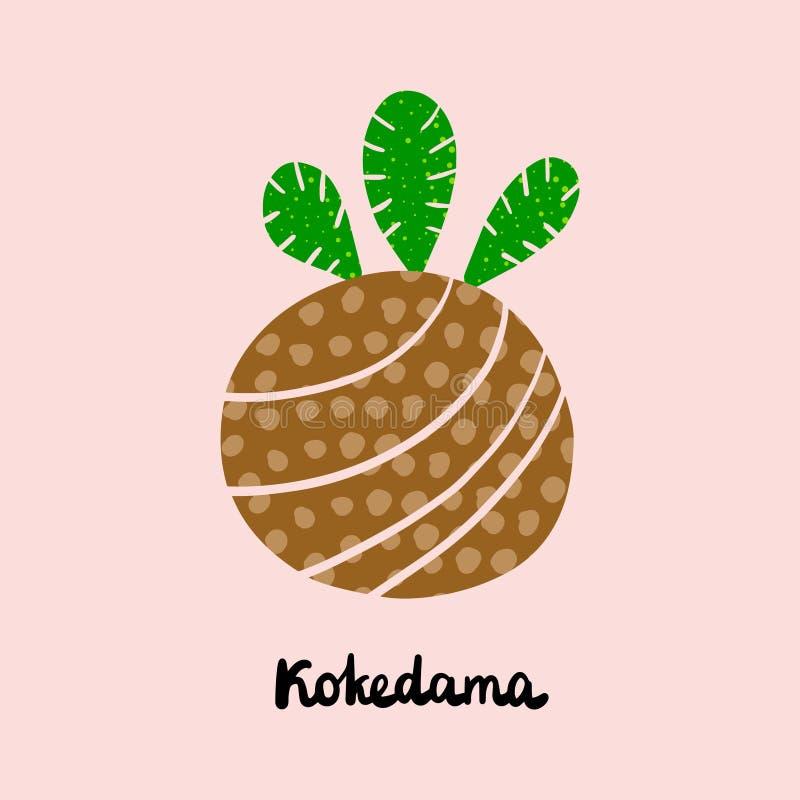 Συρμένη χέρι απεικόνιση Kokedama με την εγγραφή Παραδοσιακή ιαπωνική σφαίρα καλυμμένου του χώμα βρύου απεικόνιση αποθεμάτων