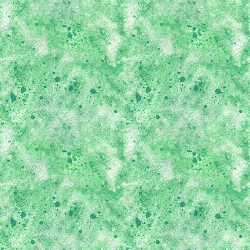 Συρμένη χέρι απεικόνιση watercolor, άνευ ραφής σχέδιο, αφηρημένο υπόβαθρο σε πράσινο ελεύθερη απεικόνιση δικαιώματος